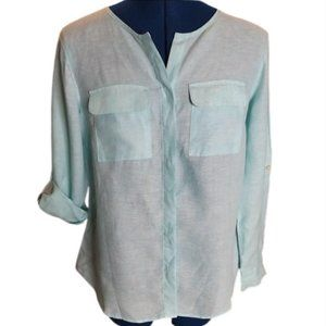 NWOT**Talbots light blue linen blouse- Size SP